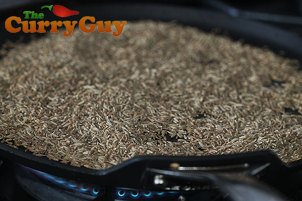 Roasting cumin for garam masala