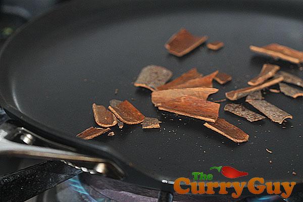 Roasting cassia bark for garam masala