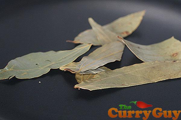 Roasting bay leaves for garam masala