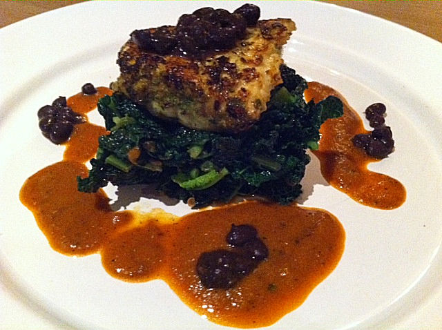 Pan Seared Cumin Halibut with Cavolo Nero and a Sweet Red Pepper Sauce