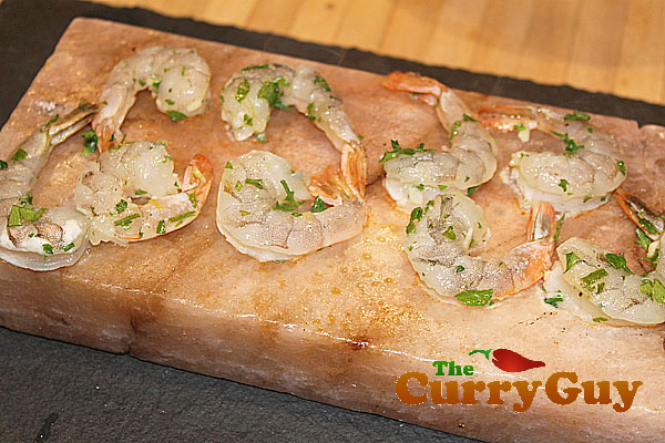 Indian Food Recipes – Marinaded Prawns Cooked On A Himalayan Salt Block