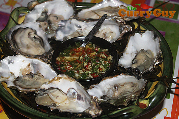 Fresh oysters a la The Curry Guy