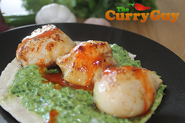 Seared scallops by The Curry Guy