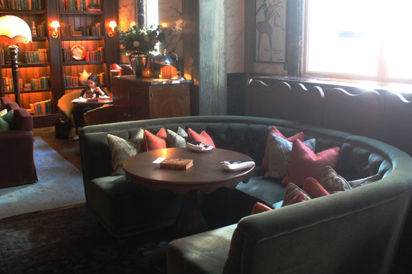 Our table at Scarfes Bar. The plush seats were so comfortable and made the dining experience even more enjoyable.