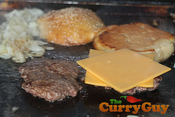 CopyCat Five Guys Burger. Frying the burgers, onions and buns