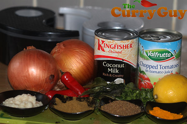 Ingredients for chicken and coconut curry