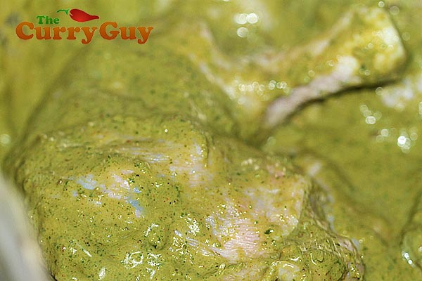 Chicken marinating in the finished marinade.