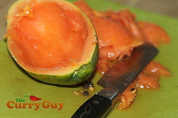 Making papaya paste