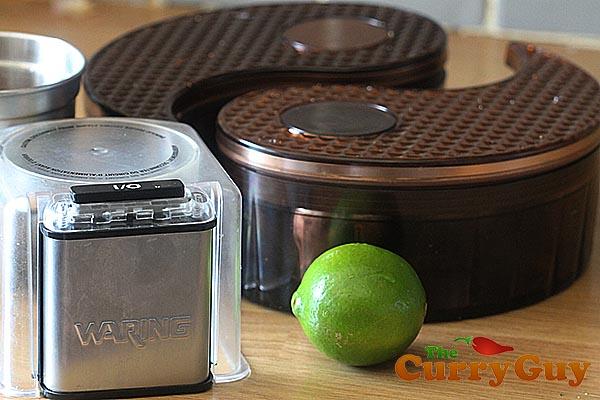 Waring spice grinder and GitaDini spice dabba