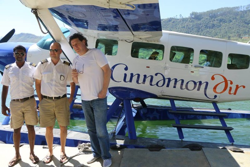 Marco Pierre White earlier in the week about to board one of Cinnamon Air's seaplanes.