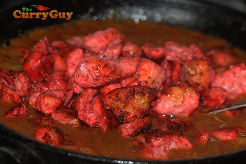 Making Indian restaurant style chicken chaat