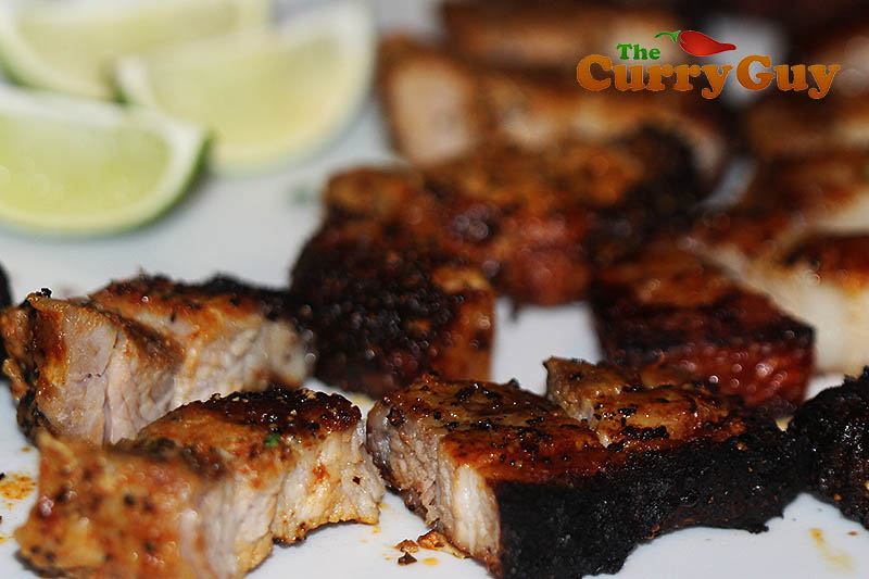 Indian restaurant style spicy pork belly