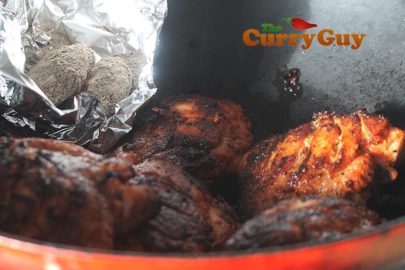 Tandoori chicken smoking