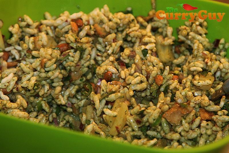 Making bhel puri.