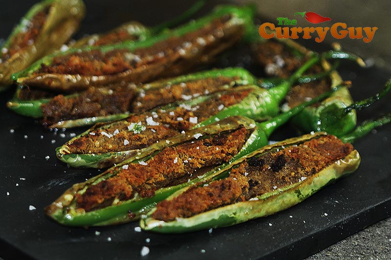 Spicy stuffed long green chillies