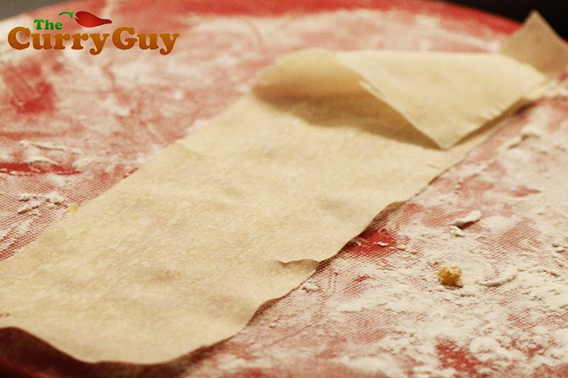 Making smoked toor dhal samosas