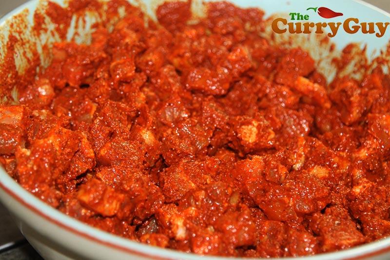 Making Goan sausage meat