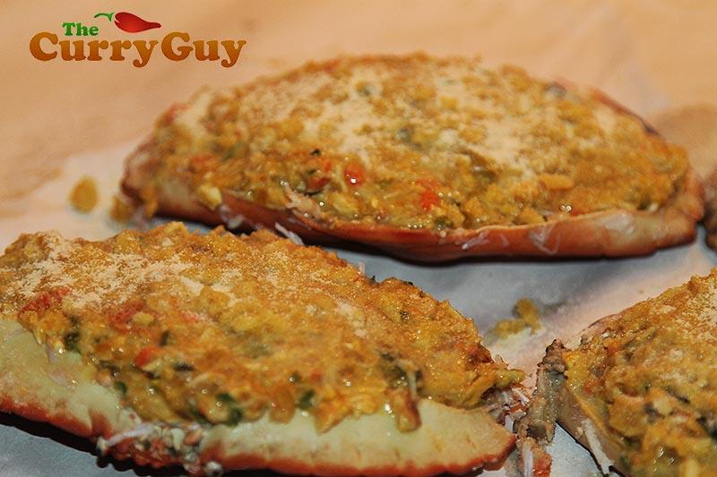 Making Goan stuffed masala crabs